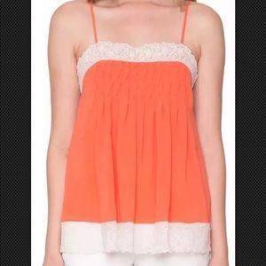 Willow & Clay slip Tank Top Lace trim Orange M